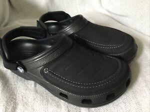Crocs Mens Yukon Vista II Faux Vegan Leather Croslite Clogs Sandals Black UK 8