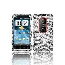 For HTC EVO 3D Bling Diamond Hard Protector Case Phone Snap on Cover Black Zebra