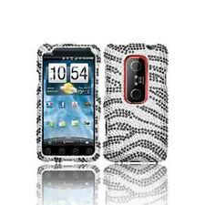 For HTC EVO 3D Bling Diamond Hard Protector Case Phone Snap on Cover Black Zebra