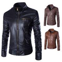 Homme Classique Motard/Biker Blouson en Cuir Zipper Décontracté Manteau Jacket