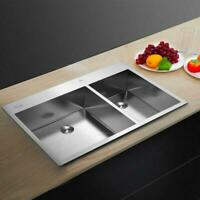 """33"""" x 22"""" x 9"""" Stainless Steel Double Bowl Kitchen Sink Large Capacity New"""