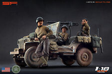 1/18 3 figurines Crew for Jeep Willys US Army WW2 VERY RARE!!! for1:18 Autoart