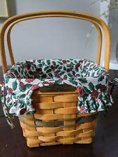 Longaberger 1995 Christmas Cranberry Basket Combo, Plastic Liner, Cloth Liner