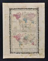 1862 Johnson World Map  Animal Kingdom Birds & Agriculture Commerce Navigation