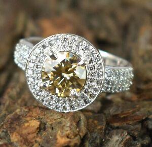 3.59 Ct Champagne Diamond Solitaire Halo Men's Ring White Finish