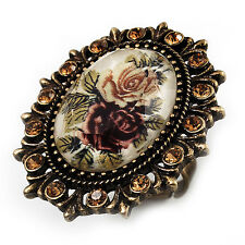 Vintage Floral Cristal Anillo Camafeo (tono de bronce)