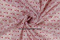 Indian 100% Cotton Voile Fabric By yard Pink-White Sewing Hand Block Print Craft