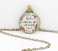 PSALM GOD BIBLE CHRISTIAN PRAYER pendant female BRONZE necklace FREE GIFT box