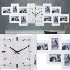 Foto Wand Uhr 10x Bilder Rahmen Flur Glas Ziffernblatt Dekoration Zeit Anzeige