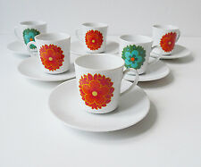 6 tasses à café années 60 70's vintage 1970 en porcelaine
