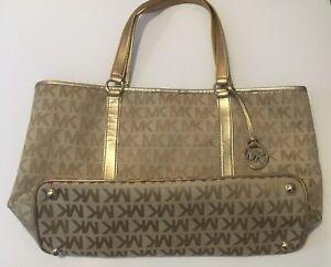 Michael Kors MK Signature Large Tote Bag Shoulder Bag Canvas & Leather Gold
