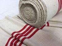 Toile En Chanvre et Coton Ancien, rayures Rouges /vintage Hemp Fabric