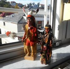VINTAGE RARE WARRIOR CHIEF AND SQUAW WITH CHILD INDIAN FIGURES FIGURINE