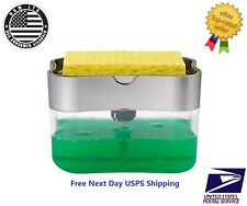Kitchen Sink Storage Box Tray Sponge Manual Hand Press Soap Organizer Dispenser