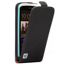 HTC Desire 500 bolso funda FLIP CASE, funda protectora, estuche, cover YC negro
