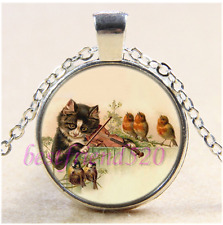 Cat Playing Violin Photo Cabochon Glass Tibet Silver Chain Pendant Necklace