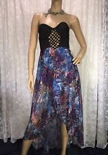 MOOLOOLA SIZE 10 BLUE MULTI WATER LEOPARD HI-LO EVENTS, FORMAL, PARTY DRESS NWT