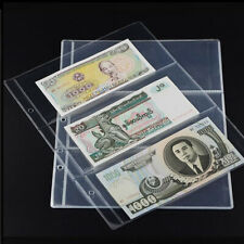10Pcs Banknote Paper Money Album Page Collecting Holder Sleeves 3 Slots Nett