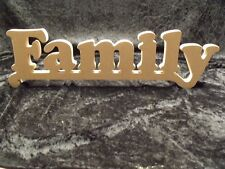 Wooden Words Family MDF Sign Plaque Letters Craft Gift Word Freestanding Home
