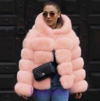 Women's Fox Fur Winter Thick Jacket Hooded Coat Outwear New Overcoat Trench Coat