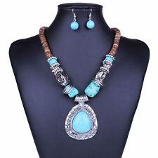 Tibet silver Wood Blue turquoise Teardrop Pendant Women Necklace earrings set