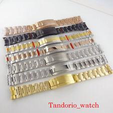 New 904L 20mm Width No Logo Oyster Watch Bracelet Glide Lock Gold Black Plated