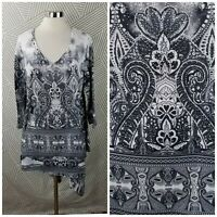 One World Plus Size 1X 16/18 Shirt Tunic Top pullover Boho Peasant Bling gem