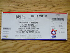 PAOLO NUTINI ticket from 2014 - Manchester Arena-Good