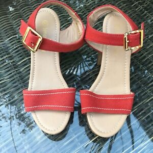 Jenny Fairy Women's Sandals red platform steady heel Shoes Size 35
