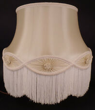 Brand New 100% Pure Silk Ivory Floor Lamp Gallery Bell Shade With Fringe Trim