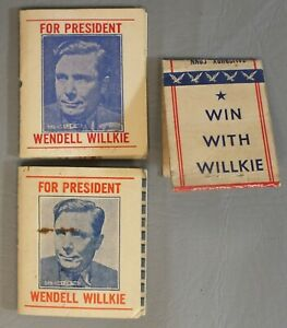 Wendell Willkie President Pull Quick Matchbook Lot of 3 Vote Election Win LG042