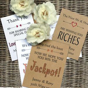 Personalised Bespoke Wedding Favours, Scratch Card Envelopes White / Kraft Brown