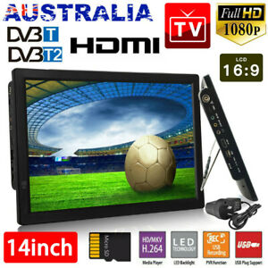 "14"" 1080P HD Digital Portable TV HD TFT LED DVB-T2 12V TV Player MP4 MP3 Player"