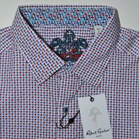 Robert Graham Red White Blue Houndstooth Sport Shirt Size Large - $198 NWT