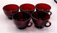 VINTAGE LOT 5 ANCHOR HOCKING ROYAL RUBY RED GLASS TEACUPS