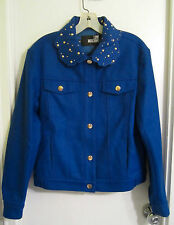 New! MOSCHINO 4 Blue Wool Jacket Blazer Embroidered Gold Studs Snaps Italy 40