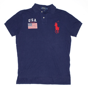 POLO RALPH LAUREN Blue Regular USA Short Sleeve Polo Shirt Mens M