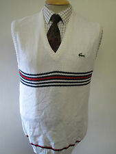 "Genuine Lacoste White Sleeveless V Neck Jumper Size S 36-38"" Euro 46-48"