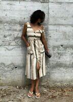 Zara Midi Linen Printed Long Flowing Dress SIZE XS S M