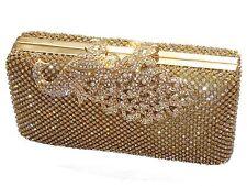 Gold Peacock Diamante Diamond Crystal Evening bag Clutch Purse Party Prom Eid