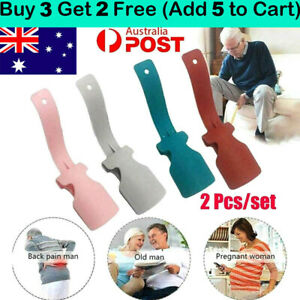 2PCS/Set Lazy Shoe Helper Unisex Handled Shoe Horn Easy on & Off Shoe Lifting AU