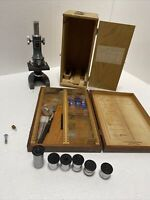 VINTAGE RESEARCH MICROSCOPE WOOD CARRYING CASE GLASS SLIDES LENSES + More
