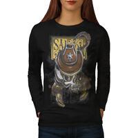 Wellcoda Sheriff Western Skull Womens Long Sleeve T-shirt, Dead Casual Design