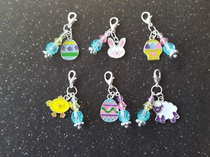 Handcrafted Enamel Easter Dog Collar Charms with Beads Themed Clip on Bling