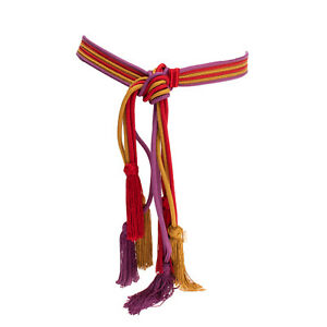 RRP €280 ETRO Cord Waist Belt Size S / M Striped Pattern Tassels Made in Italy