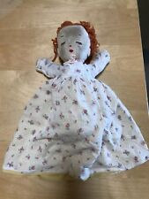 "Sweet 17"" Vintage Hand stitch Cloth Stuffed Two Faced Doll Awake Asleep Dressed"