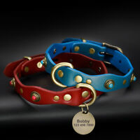 Handcraft Real Leather Pet Puppy Dog Collars with Personalised Tag Engraved XS-M