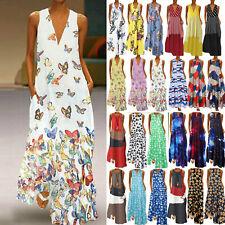 Plus Size Women V Neck Boho Dress Sleeveless Floral Summer Casual Maxi Sundress