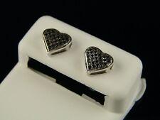 10K White Gold With Black Heart Diamond Stud Earrings