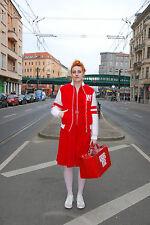Wrangler 90er College Jacke 38 S / M Rot Weiß 100% Nylon 90ies True Vintage 90s